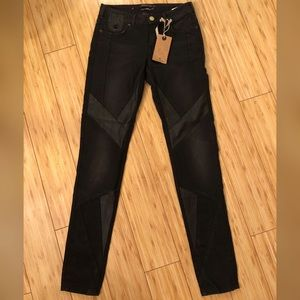 Madison Scotch Skinny Jeans with Faux leather